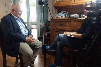 Gleich geht's los: Interview von Regisseurin Nico Weber mit Marc d'Eramo in Rom. © NOW Collective / Jörg Leine.