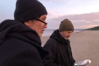 Drone filming on the beach. Drone operator Marc Nordbruch and Jörg Leine. © NOW Collective / Nico Weber.