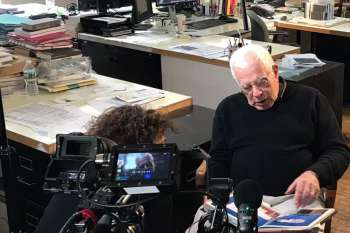 Director Nico Weber interviews top architect Peter Eisenman in his New York office. © NOW Collective / Marc Nordbruch.